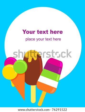 colorful ice-creams, vector illustration - stock vector