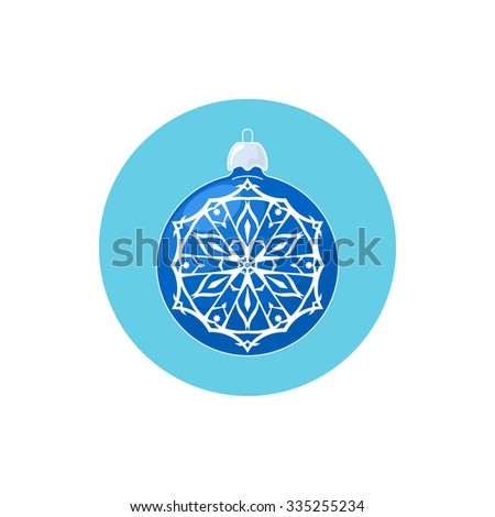 Colorful Icon Blue Ball with Snowflake , Icon Christmas Tree Decoration,  Merry Christmas and Happy New Year, Vector Illustration - stock vector