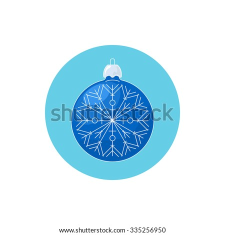 Colorful Icon Christmas Blue Ball with Snowflake , Icon Christmas Tree Decoration,  Merry Christmas and Happy New Year, Vector Illustration - stock vector