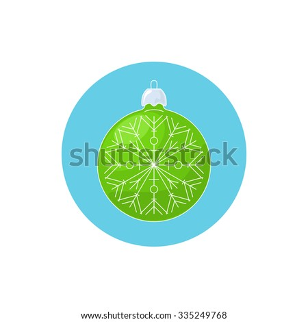 Colorful Icon Christmas Green Ball with Snowflake ,  Icon Christmas Tree Decoration, Merry Christmas and Happy New Year, Vector Illustration - stock vector