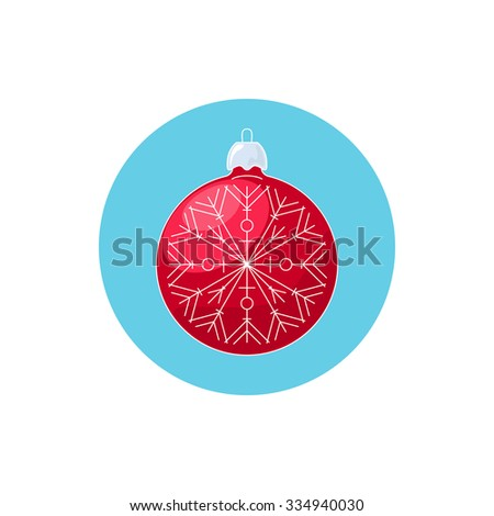 Colorful Icon Christmas Red Ball with Snowflake , Icon Christmas Tree Decoration, Merry Christmas and Happy New Year,  Vector Illustration - stock vector