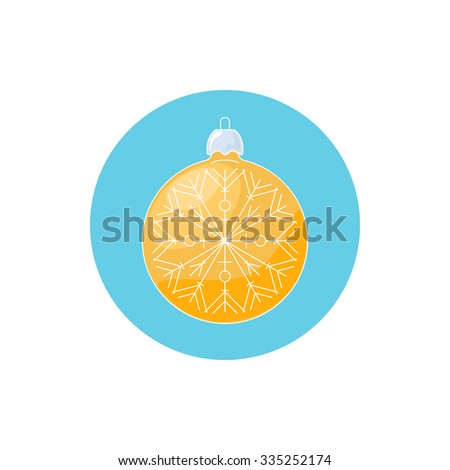 Colorful Icon Christmas Yellow Ball with Snowflake ,  Icon Christmas Tree Decoration, Merry Christmas and Happy New Year, Vector Illustration - stock vector