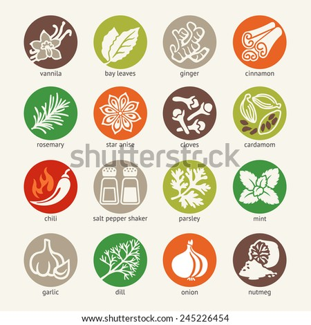 Colorful icon set - cooking ingredients: spices, condiments and herbs  - stock vector