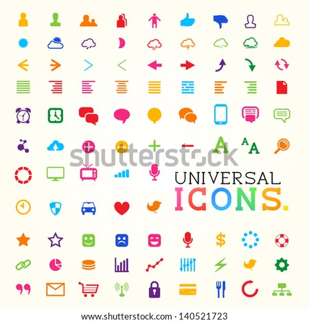 Colorful Icon Set, Vector illustration.
