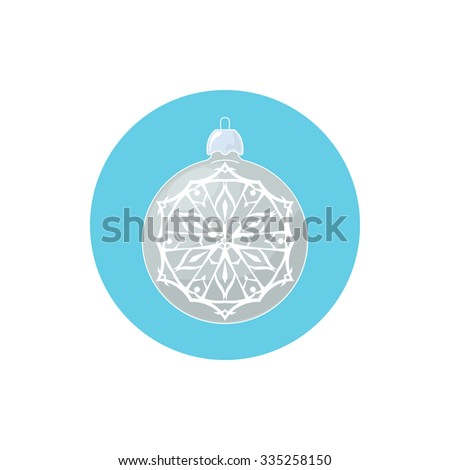 Colorful Icon Silver Ball with Snowflake , Icon Christmas Tree Decoration, Merry Christmas and Happy New Year, Vector Illustration - stock vector