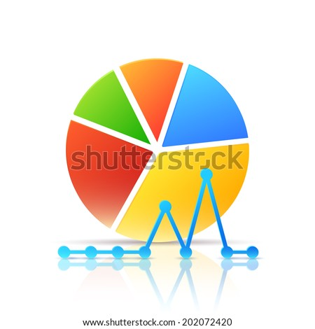 Colorful Icon with Diagram and Graph Isolated on White. Vector Illustration for Presentation of Analytics - stock vector