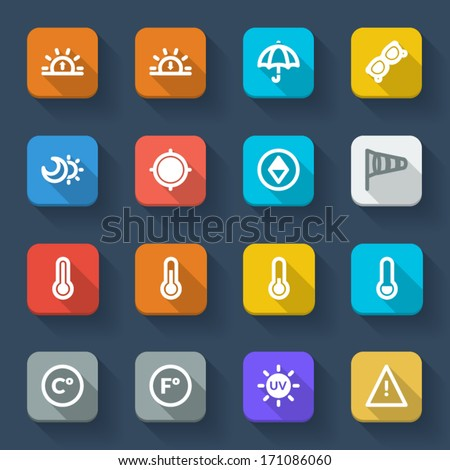 Colorful icons about the weather. Forecast symbols 2 - stock vector