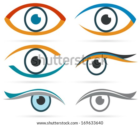 Colorful icons eye vector set for design. - stock vector