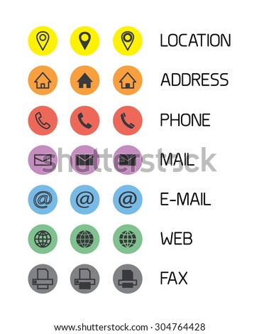 Colorful icons for business cards/mobile phone application. Vector illustration. - stock vector
