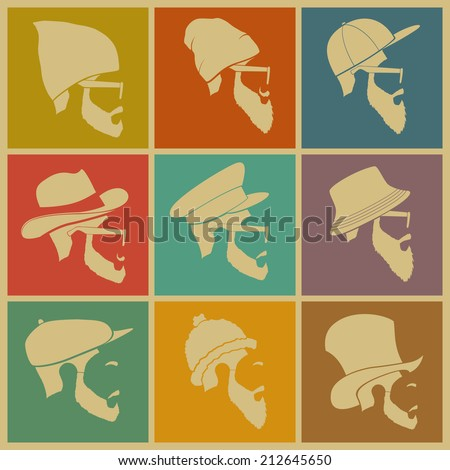 colorful Icons man in a headdress hat - stock vector