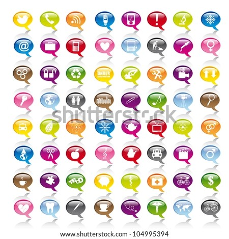 colorful icons over thought bubbles. vector illustration - stock vector