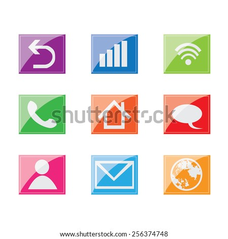 Colorful  icons set - stock vector