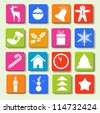Colorful icons with Christmas items. - stock vector