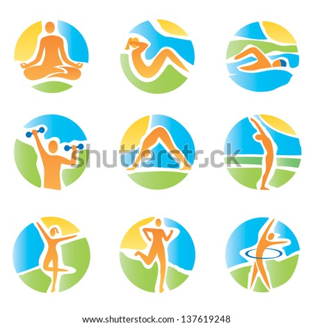 Colorful icons with fitness and healthy lifestyle activities on an abstract landscape background. Expressive watercolor imitating vector illustration. - stock vector