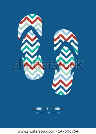 Colorful ikat chevron frame flip flops decor pattern background - stock vector