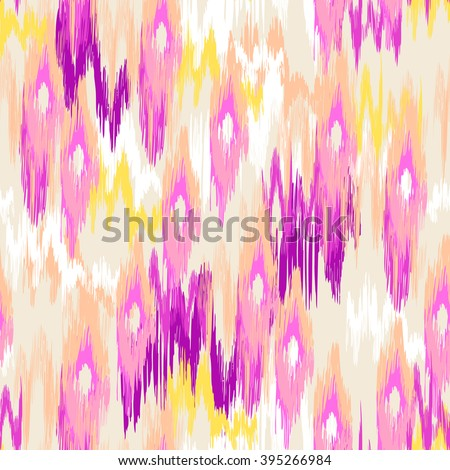 colorful ikat painted texture ~ seamless background - stock vector