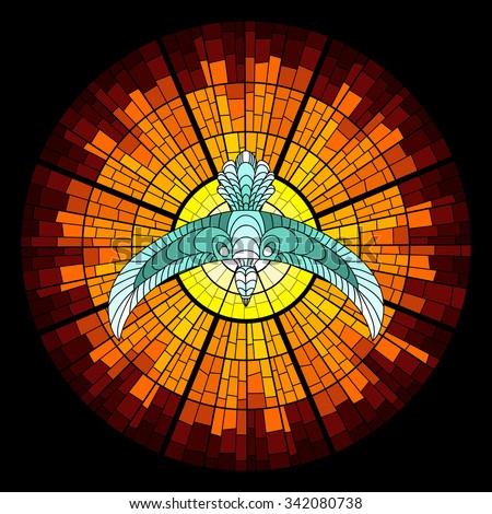 Colorful illustration background of pigeon and sun glow with rays. Stained glass window mosaic style. Vector design. - stock vector