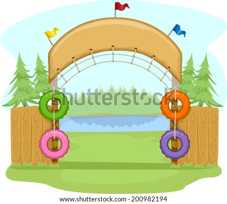 Colorful Illustration Featuring the Entrance of a Camp Site