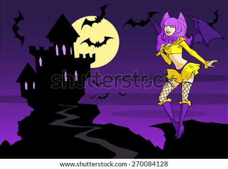 Colorful illustration of a beautiful vampire girl posing on the background of the vampire castle at night - stock vector