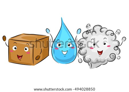 Colorful Illustration of a Box, a Water Droplet, and a Cloud of Gas Demonstrating the Phases of Matters