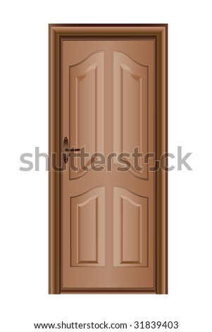 Colorful illustration of a closed door isolated on white - stock vector