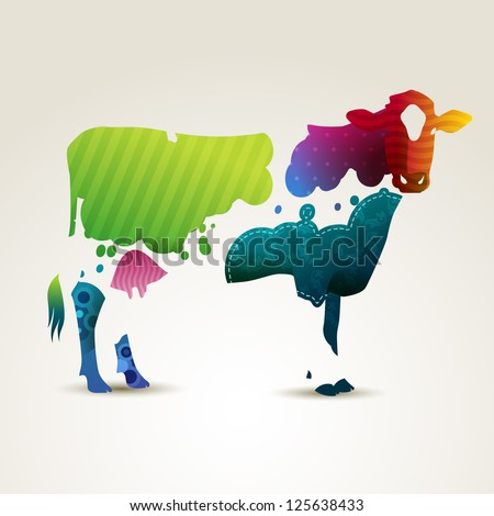 Colorful illustration of a cow, eps10 vector