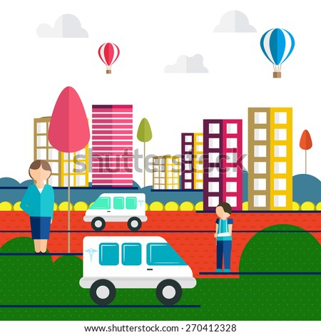 Colorful illustration of a injured boy, a lady and two ambulance on city road for Health and medical concept. - stock vector