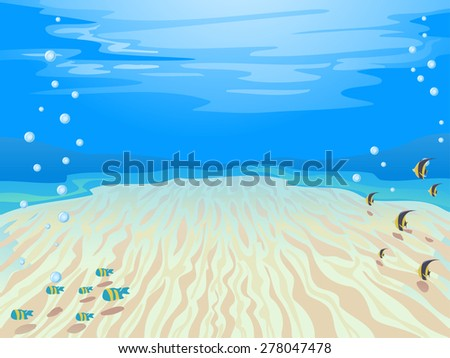 Colorful Illustration of a Stretch of Sand Under the Sea - stock vector