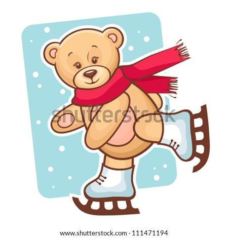 Colorful Illustration Of Cute Teddy Bear Skating. - stock vector