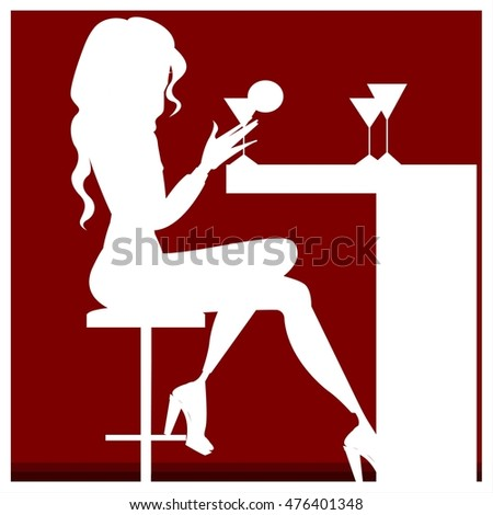 Colorful illustration of girl in bar. Cute cartoon vector illustration.