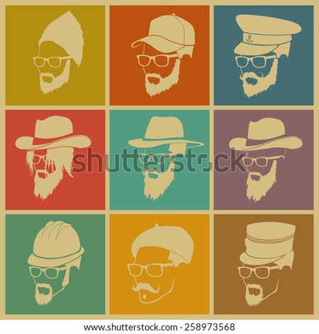colorful illustration of icons of people in hats with a beard - stock vector