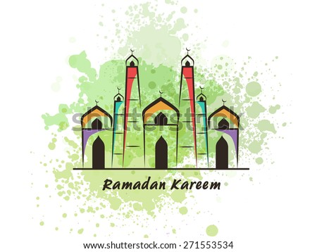 Colorful illustration of islamic mosque with green splash for holy month of muslim community, Ramadan Kareem celebration. - stock vector