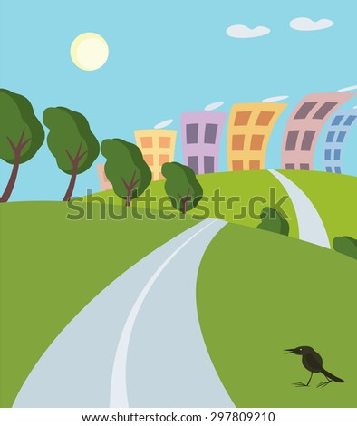 colorful illustration of road to the summer city - stock vector