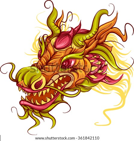 Colorful Illustration of the Head of a Chinese Dragon - stock vector
