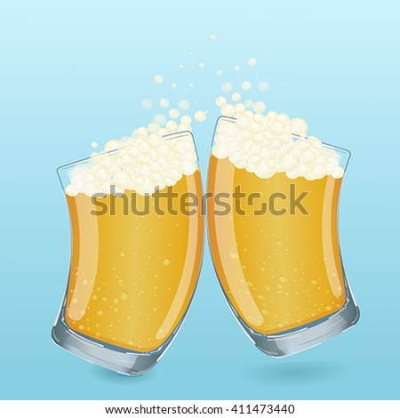Colorful illustration. Vector. In cartoon style. Drink in a transparent glass beaker. Two glasses with foamy beer is poured. Using the graphic design as a greeting card, web design, logos and more.