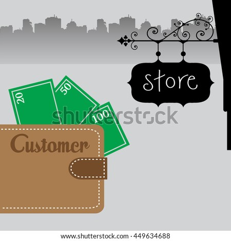 Colorful illustration with a brown wallet with money and the word customer written on the wallet - stock vector