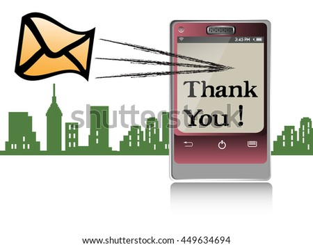 Colorful illustration with a cellphone sending a thank you message - stock vector