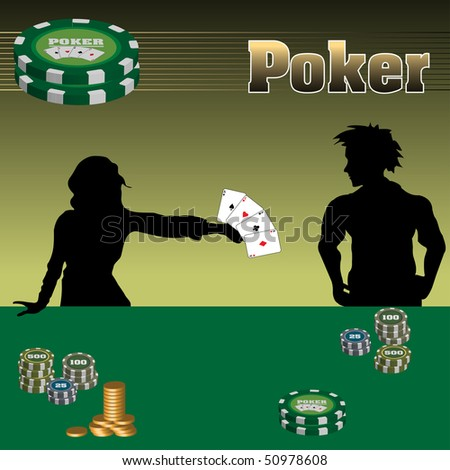 Colorful illustration with a man and a woman playing poker at a casino table. Gambling concept - stock vector