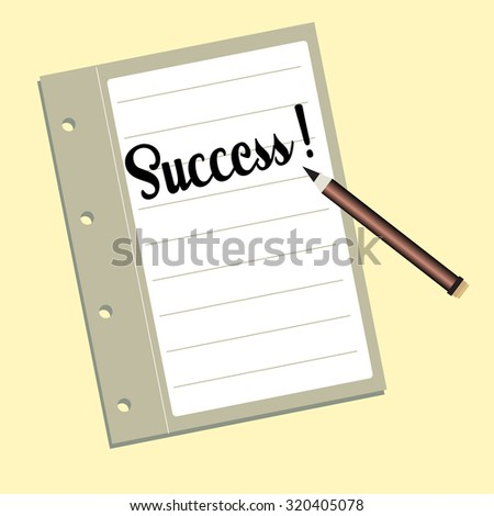 Colorful illustration with a pencil and the word success written on a notebook. Success theme - stock vector
