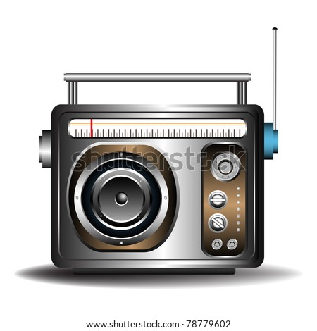 Colorful illustration with a retro radio isolated on a white background - stock vector