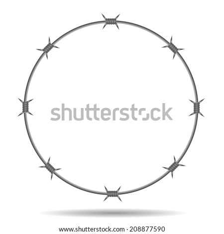 colorful illustration with barbed wire frame on a white background  for your design - stock vector