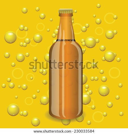 colorful illustration with beer bottle on a yellow bubbles  background - stock vector