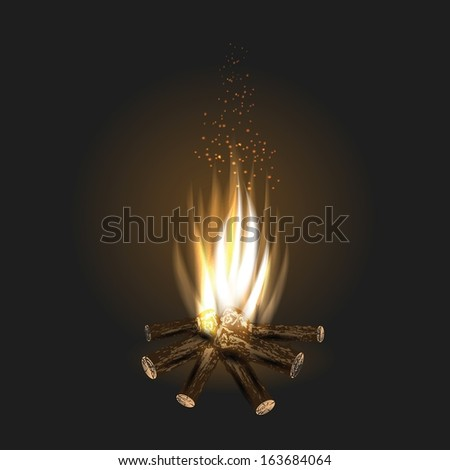 colorful illustration with bonfire for your design - stock vector