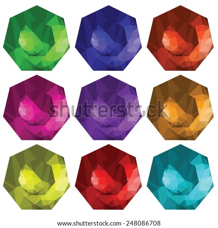 colorful illustration  with brilliant cut gems on white  background - stock vector
