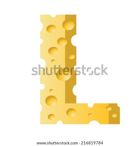 colorful illustration with cheese letter L  on a white background - stock vector