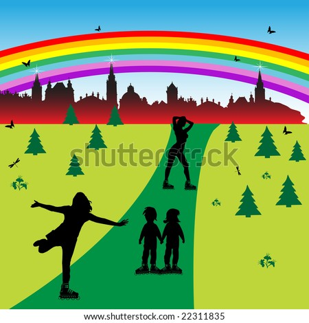 Colorful illustration with children and teenagers on rollerblades skating in a park near the city - stock vector