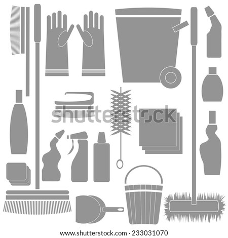 colorful illustration with  Cleaning Tools silhouettes on white background - stock vector