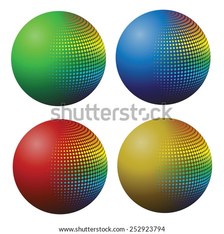 colorful illustration  with colored spheres on white background - stock vector