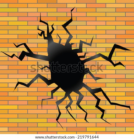 colorful illustration with crack on a brick background - stock vector