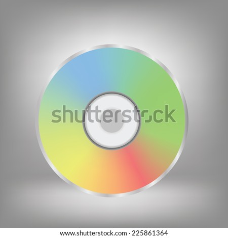 colorful illustration with disc icon on a grey background